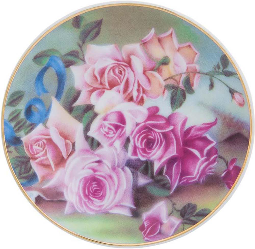 Тарелка декоративная Elan Gallery Розы, с подставкой, цвет: темно-зеленый, диаметр 10 см