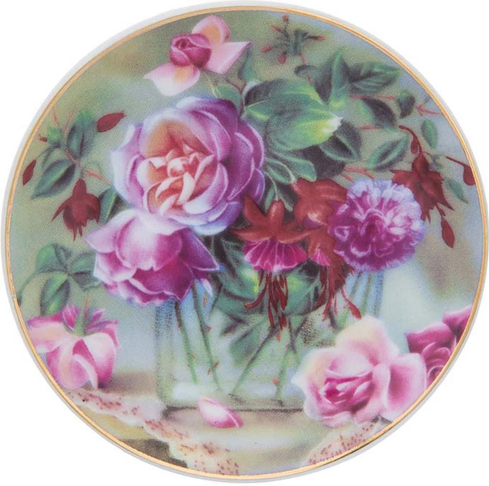 Тарелка декоративная Elan Gallery Букет в прозрачной вазе, с подставкой, цвет: темно-зеленый, диаметр 10 см тарелка декоративная elan gallery розовая роза с белой птичкой