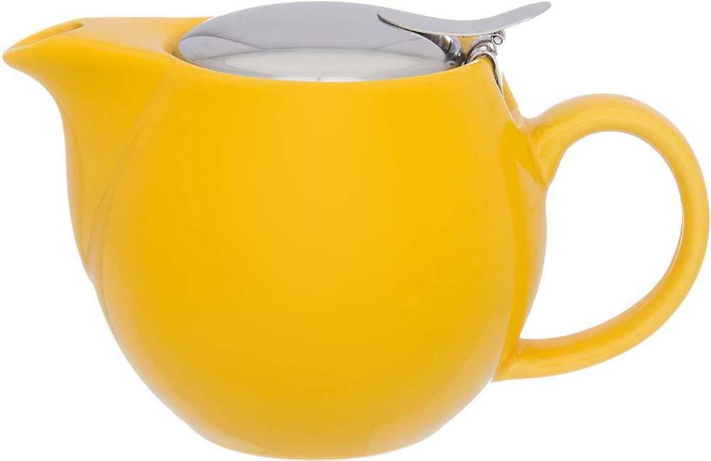 Чайник заварочный Elan Gallery, с ситом, цвет: лимонный, 500 мл чайники заварочные elan gallery сувенир чайник звездная ночь