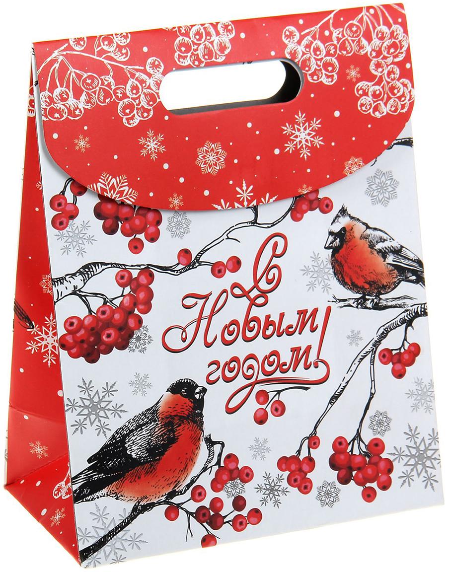 Пакет подарочный Дарите Счастье Снегири, с клапаном, цвет: мультиколор, 18 х 10 х 23 см. 1051560 коробка складная дарите счастье снегири на санях цвет синий красный 23 5 х 14 5 х 18 см