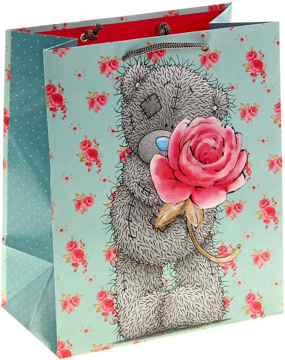 Пакет подарочный Me to You Мишка с розой, цвет: голубой, 20,3 х 24 х 10,2 см. 1102395 футболка для беременных printio мишка me to you