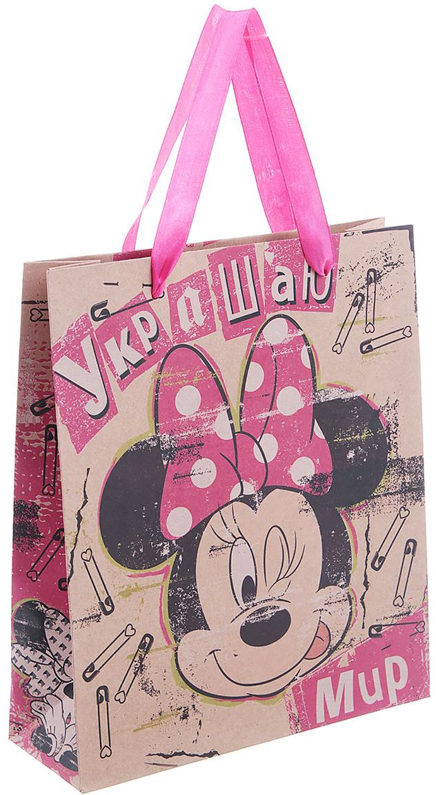 Пакет подарочный Disney Минни Маус. Украшаю мир, цвет: розовый, 23 х 8 х 27 см. 11231271123127Пакет в авторском дизайне по мотивам мультфильмов Disney придется по душе любому ребенку и сделает презент еще более желанным. Благодаря экобумаге крафт с цветным изображением кажется, что изделие сделано вручную. Сочетание персонажей уникально, ведь их, как и каждую деталь, со вкусом и любовью создали дизайнеры.