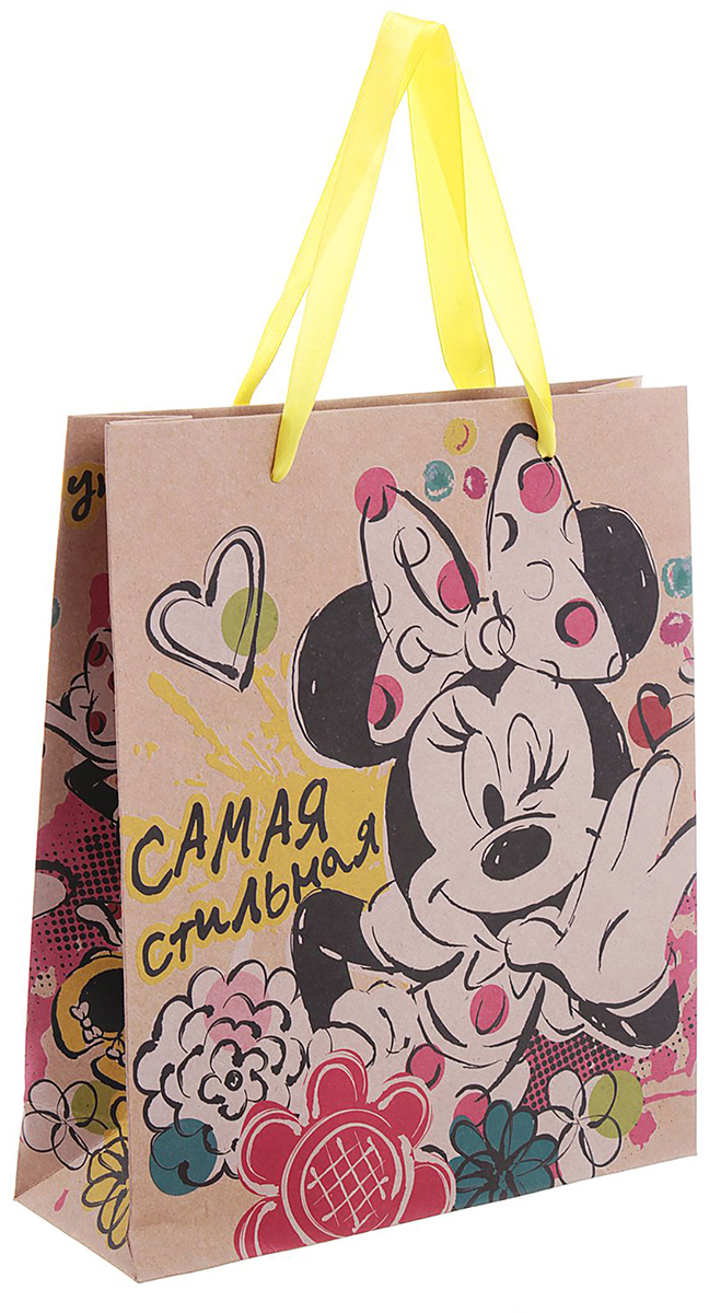 Пакет подарочный Disney Минни Маус. Самая стильная, цвет: мультиколор, 23 х 8 х 27 см. 1123128 пакет подарочный disney софия прекрасная самая милая цвет мультиколор 18 х 10 х 23 см 2019723