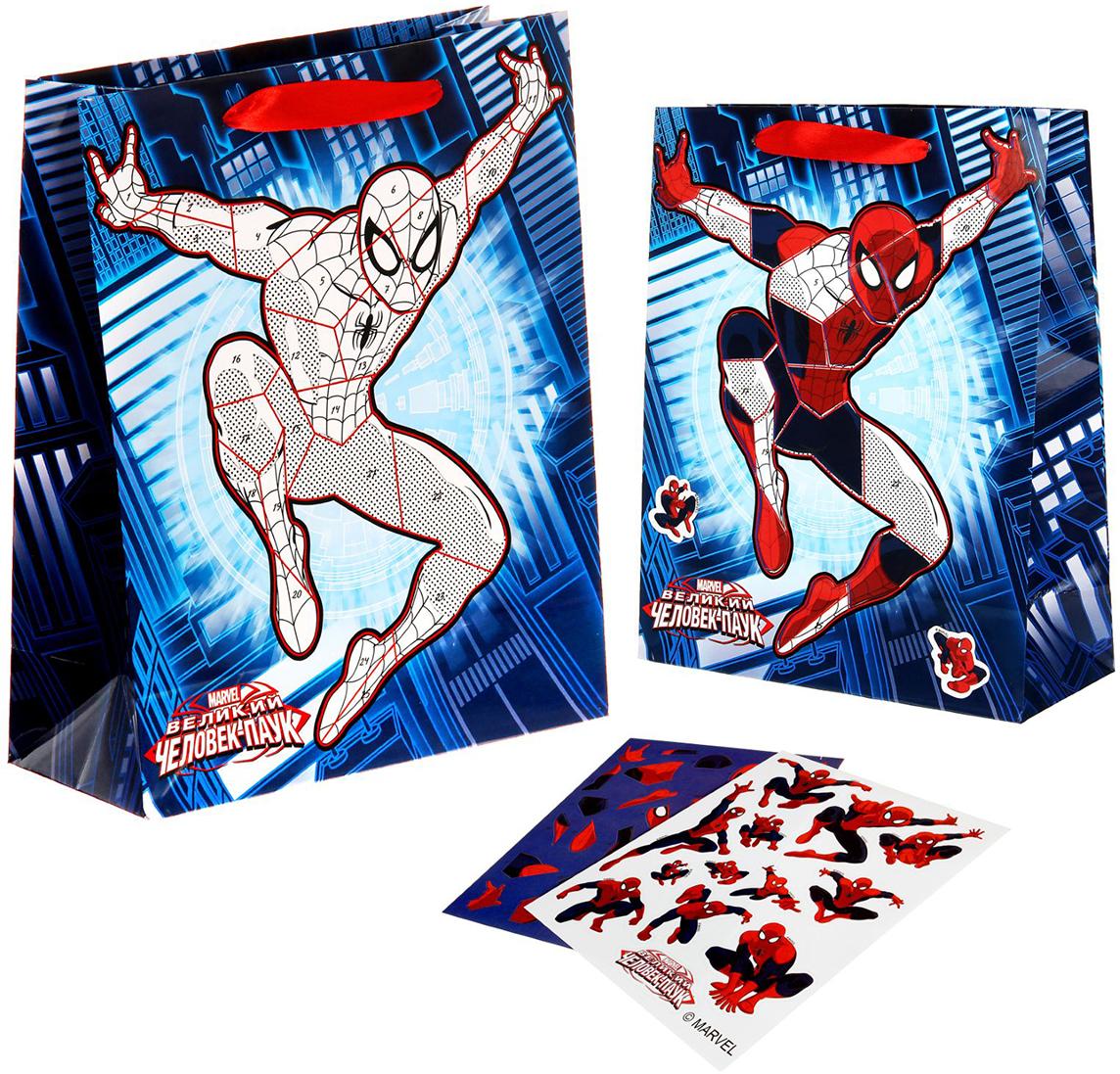 Пакет подарочный Marvel Великий Человек-Паук, с наклейками, цвет: мультиколор, 18 х 10 х 23 см. 11257871125787Подарки не обязательно делать только по важным поводам. Дарите их спонтанно, без причины, просто для души, ведь главное в этом процессе - удовольствие! А сколько радости получит ребенок, когда увидит этот пакет с любимыми героями! Положите в него конфеты или игрушки, и ваш подарок не затеряется среди других. Прочная ламинированная бумага с атласными ручками и уникальный дизайн делают его идеальным. К изделию прилагаются 2 листа А5 с цветными наклейками. Украсьте ими пакет или сюрприз внутри него, а можете создать открытку или плакат. Дарите незабываемые минуты радости детям с уникальными товарами.