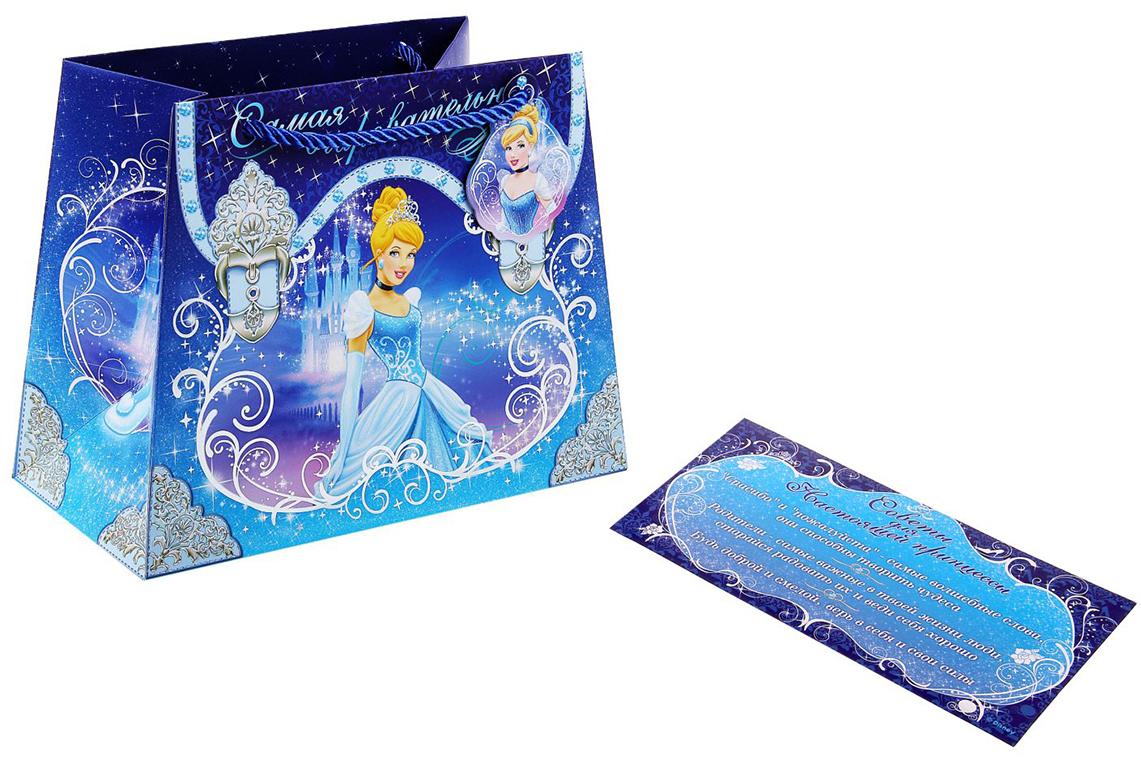Пакет подарочный Disney Принцессы. Самая очаровательная, с открыткой Советы для принцессы, цвет: мультиколор, 23 х 12 х 18 см. 11262181126218Любой подарок начинается с упаковки. Что может быть трогательнее и волшебнее, чем ритуал разворачивания подаренного презента? И именно оригинальная, со вкусом выбранная упаковка выделит ваш подарок из массы других, продемонстрирует самые теплые чувства к виновнику торжества, создаст сказочную атмосферу праздника. Пакет из нашего ассортимента - это то, что вы искали. Этот товар станет достойным обрамлением и элегантным завершением любого подарка. Бонус - листовка Советы для настоящей принцессы.