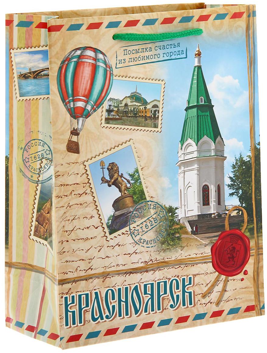 Пакет подарочный Красноярск, цвет: мультиколор, 8 х 18 х 23 см. 1126977 головка для дисковода красноярск