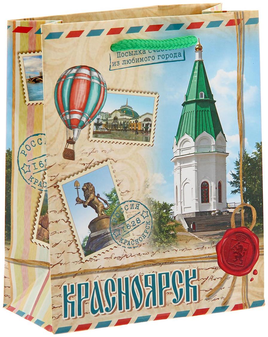 Пакет подарочный Красноярск, цвет: мультиколор, 5 х 11 х 14 см. 1127258 головка для дисковода красноярск
