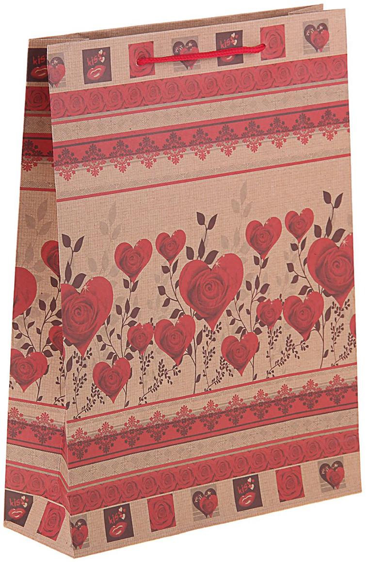 Пакет подарочный Сердца из роз, цвет: красный, 24 х 8 х 33 см. 11506961150696Пакет-крафт Сердца из роз из натуральной бумаги отличается высокой воздухопроницаемостью, имеет крепкое дно и крученые ручки. Также он свободно выдерживает относительно большой вес до 10 кг, демонстрируя отличные показатели прочности, и не рвется острыми углами подарочной коробки. Практичность в использовании и разумная стоимость - все это характеризует удобную и абсолютно безопасную в применении упаковку. Модный сдержанный принт подойдет и для дорогой покупки из бутика, и для повседневных бытовых целей. Фирмы, упаковывающие свою продукцию таким образом, демонстрируют осведомленность в вопросах экологии, качестве выпускаемых изделий и заботы о ее потребителях.