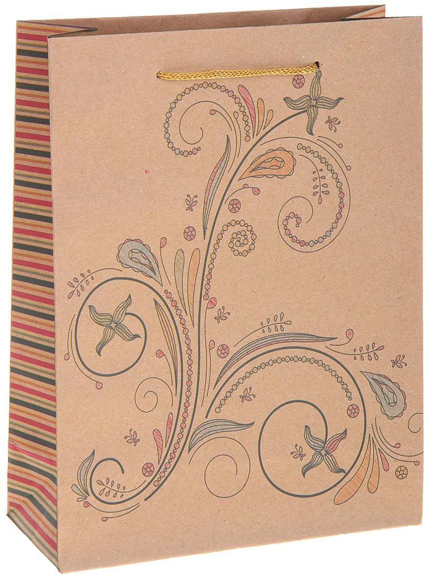 Пакет подарочный Рисунок, цвет: коричневый, 15 х 6 х 20 см. 12130561213056Любой подарок начинается с упаковки. Что может быть трогательнее и волшебнее, чем ритуал разворачивания полученного презента. И именно оригинальная, со вкусом выбранная упаковка выделит ваш подарок из массы других. Она продемонстрирует самые теплые чувства к виновнику торжества и создаст сказочную атмосферу праздника. Пакет-крафт Рисунок - это то, что вы искали.
