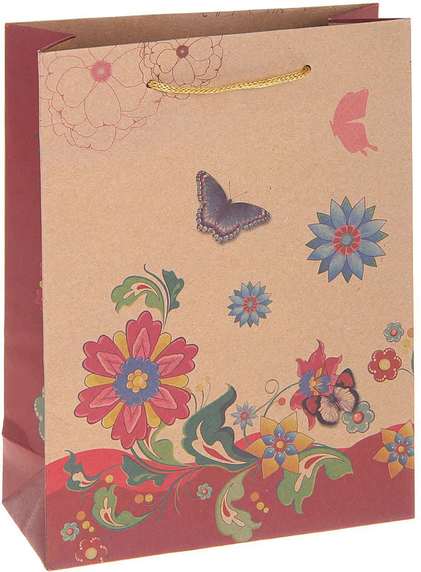 Пакет подарочный Цветы, цвет: мультиколор, 23 х 8,5 х 32 см. 12130891213089Любой подарок начинается с упаковки. Что может быть трогательнее и волшебнее, чем ритуал разворачивания полученного презента. И именно оригинальная, со вкусом выбранная упаковка выделит ваш подарок из массы других. Она продемонстрирует самые теплые чувства к виновнику торжества и создаст сказочную атмосферу праздника. Пакет-крафт Цветы - это то, что вы искали.