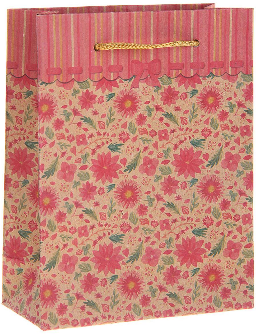 Пакет подарочный Цветочная поляна, цвет: розовый, 23 х 8,5 х 32 см. 12131041213104Любой подарок начинается с упаковки. Что может быть трогательнее и волшебнее, чем ритуал разворачивания полученного презента. И именно оригинальная, со вкусом выбранная упаковка выделит ваш подарок из массы других. Она продемонстрирует самые теплые чувства к виновнику торжества и создаст сказочную атмосферу праздника. Пакет-крафт Цветочная поляна - это то, что вы искали.