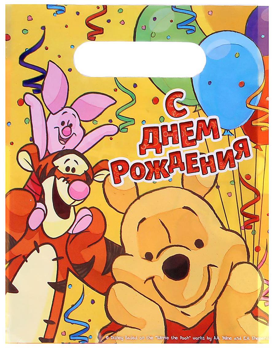 Пакет подарочный Disney Медвежонок Винни. С Днем Рождения, цвет: мультиколор, 17 х 20 см. 1221189 пакет подарочный disney микки маус и друзья с днем рождения цвет мультиколор 34 х 40 см 2333376