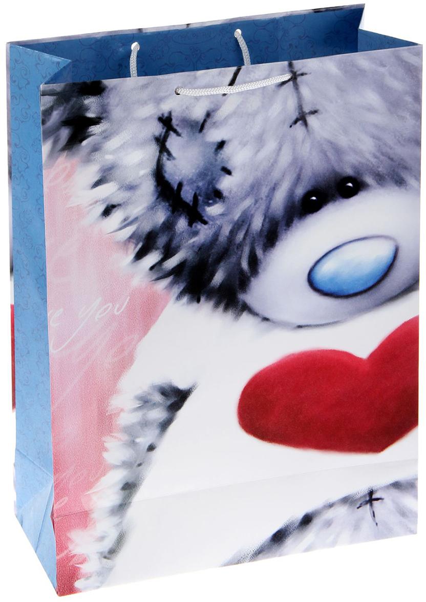 Пакет подарочный Me to You Застенчивый мишка, цвет: голубой, 26,4 х 36 х 11,5 см. 1253438 наклейка панно me to you мишка тедди и олень 16х23 см