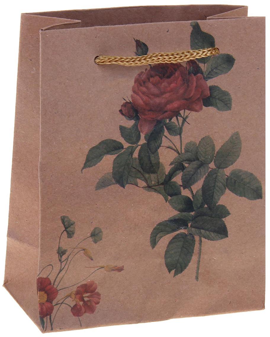 Пакет подарочный Роза, цвет: мультиколор, 11 х 6 х 14 см. 1255071 пакет подарочный рисунок цвет мультиколор 11 х 6 х 14 см 1258394