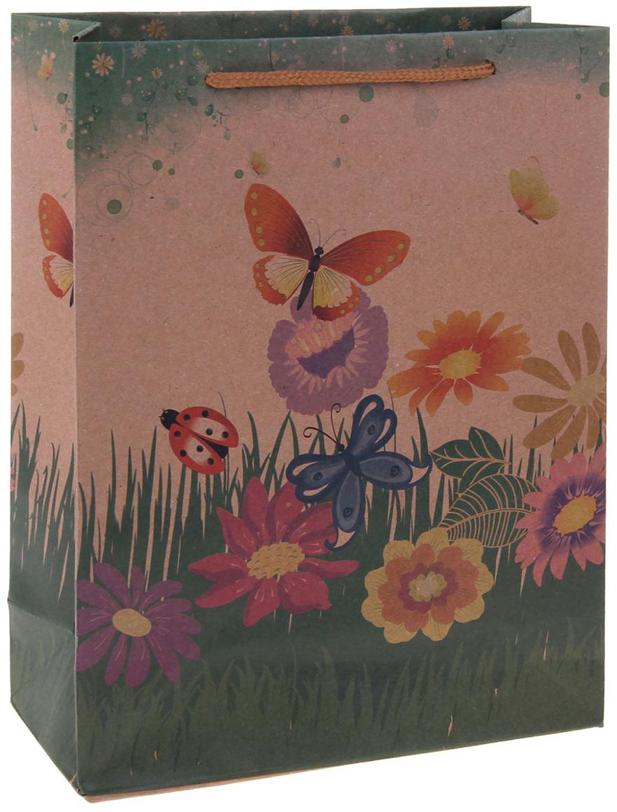 Пакет подарочный Цветочная поляна, цвет: мультиколор, 24 х 8 х 33 см. 12551041255104Любой подарок начинается с упаковки. Что может быть трогательнее и волшебнее, чем ритуал разворачивания полученного презента. И именно оригинальная, со вкусом выбранная упаковка выделит ваш подарок из массы других. Она продемонстрирует самые теплые чувства к виновнику торжества и создаст сказочную атмосферу праздника. Пакет-крафт Цветочная поляна - это то, что вы искали.