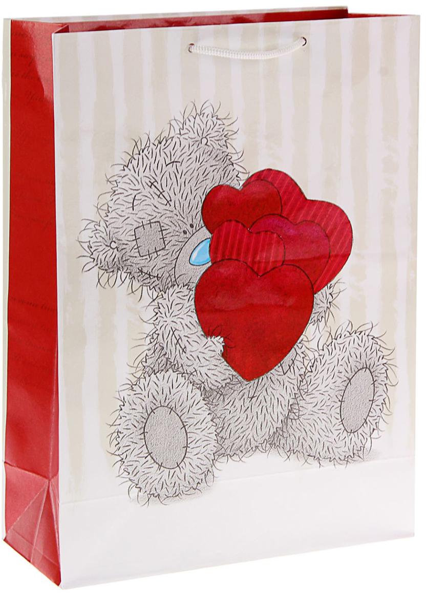 Пакет подарочный Me to You Мишутка с сердечками, цвет: бежевый, 36 х 26 х 11,5 см. 1257618 футболка для беременных printio мишка me to you