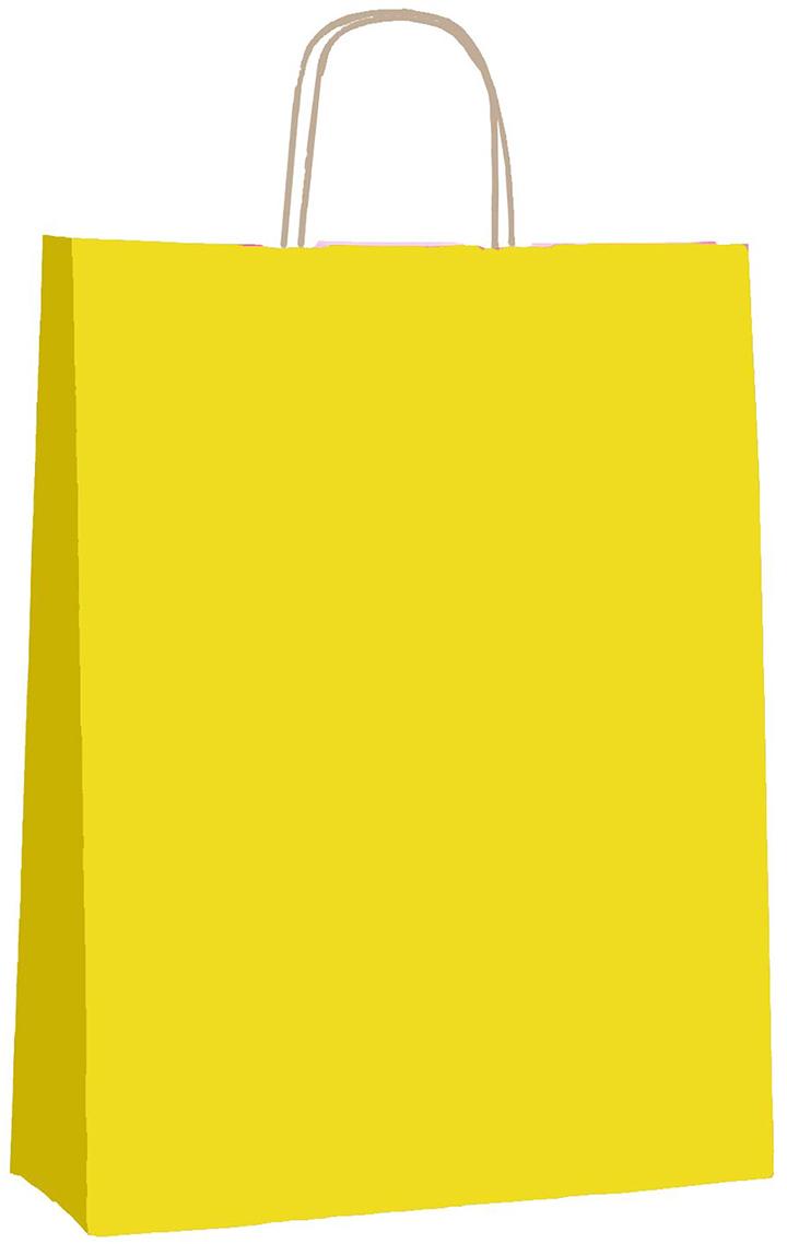 Пакет подарочный Радуга, цвет: лимонный, 25 х 11 х 32 см. 12580121258012Крафт-пакет влагоустойчив, с хорошей воздухопроницаемостью, отменно переносит высокую температуру и может использоваться не один раз. Имеет крепкое дно и крученые ручки. Изготовлен из крафт-бумаги – экологически чистого материала. Практичность в использовании и разумная стоимость – все это характеризует удобную и абсолютно безопасную в применении упаковку. Материал очень податлив, а работать с ним одно удовольствие: можно нанести любой рисунок, рекламу, поиграть с расцветкой или сделать яркий принт. Фирмы, упаковывающие свою продукцию таким образом, демонстрируют осведомленность в вопросах экологии, качестве выпускаемых изделий и заботу о ее потребителях.