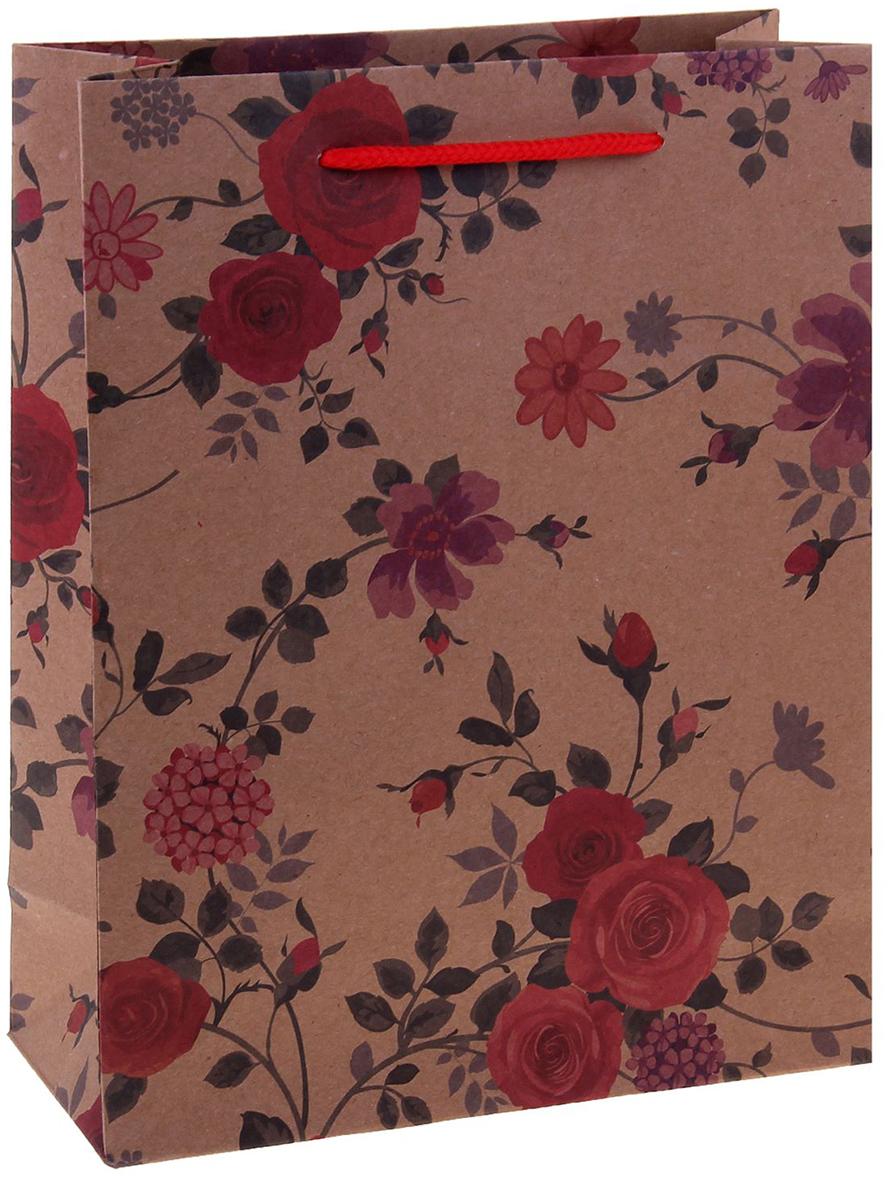 Пакет подарочный Цветы, цвет: мультиколор, 15 х 6 х 20 см. 12584101258410Любой подарок начинается с упаковки. Что может быть трогательнее и волшебнее, чем ритуал разворачивания полученного презента. И именно оригинальная, со вкусом выбранная упаковка выделит ваш подарок из массы других. Она продемонстрирует самые теплые чувства к виновнику торжества и создаст сказочную атмосферу праздника. Пакет-крафт Цветы - это то, что вы искали.