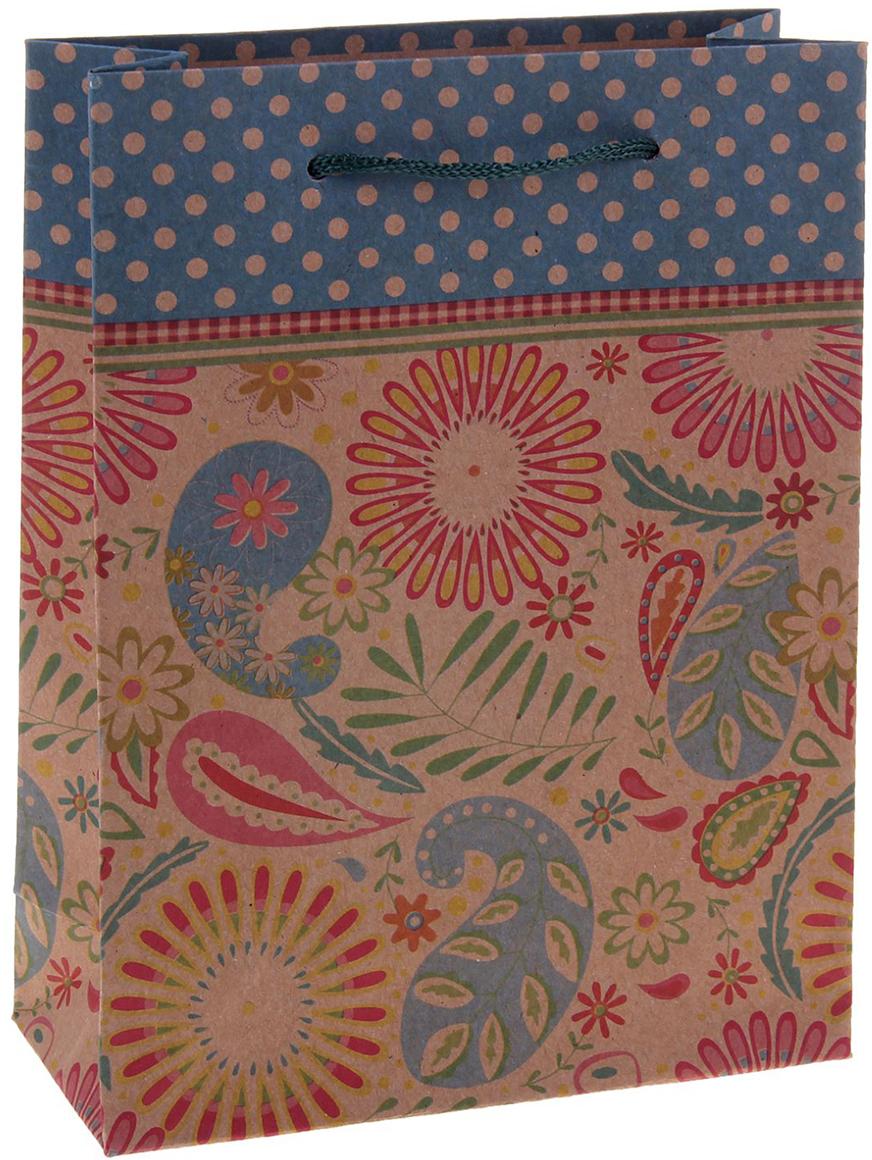 Пакет подарочный Рисунок, цвет: мультиколор, 15 х 6 х 20 см. 1258413 пакет подарочный рисунок цвет мультиколор 11 х 6 х 14 см 1258394