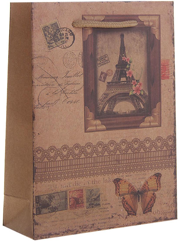 Пакет подарочный Париж, цвет: коричневый, 15 х 6 х 20 см. 12584161258416Любой подарок начинается с упаковки. Что может быть трогательнее и волшебнее, чем ритуал разворачивания полученного презента. И именно оригинальная, со вкусом выбранная упаковка выделит ваш подарок из массы других. Она продемонстрирует самые теплые чувства к виновнику торжества и создаст сказочную атмосферу праздника. Пакет-крафт Париж - это то, что вы искали.