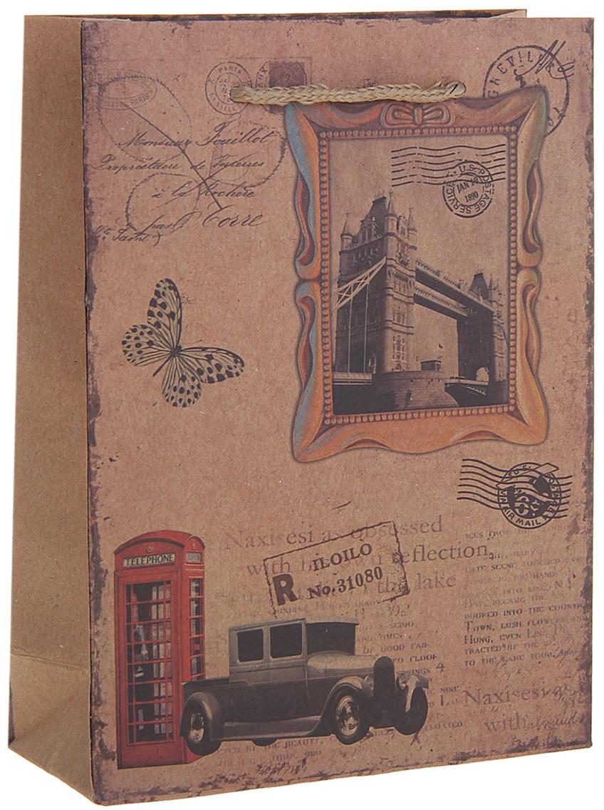 Пакет подарочный Лондон, цвет: коричневый, 15 х 6 х 20 см. 12584191258419Любой подарок начинается с упаковки. Что может быть трогательнее и волшебнее, чем ритуал разворачивания полученного презента. И именно оригинальная, со вкусом выбранная упаковка выделит ваш подарок из массы других. Она продемонстрирует самые теплые чувства к виновнику торжества и создаст сказочную атмосферу праздника. Пакет-крафт Лондон - это то, что вы искали.