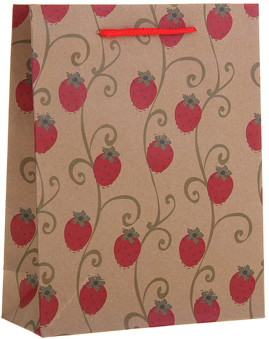 Пакет подарочный Ягодки, цвет: красный, 19 х 8 х 24 см. 12584221258422Любой подарок начинается с упаковки. Что может быть трогательнее и волшебнее, чем ритуал разворачивания полученного презента. И именно оригинальная, со вкусом выбранная упаковка выделит ваш подарок из массы других. Она продемонстрирует самые теплые чувства к виновнику торжества и создаст сказочную атмосферу праздника. Пакет-крафт Ягодки - это то, что вы искали.