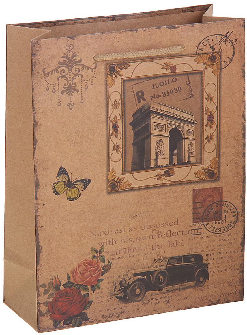 Пакет подарочный Париж, цвет: коричневый, 19 х 8 х 25 см. 12584321258432Любой подарок начинается с упаковки. Что может быть трогательнее и волшебнее, чем ритуал разворачивания полученного презента. И именно оригинальная, со вкусом выбранная упаковка выделит ваш подарок из массы других. Она продемонстрирует самые теплые чувства к виновнику торжества и создаст сказочную атмосферу праздника. Пакет-крафт Париж - это то, что вы искали.