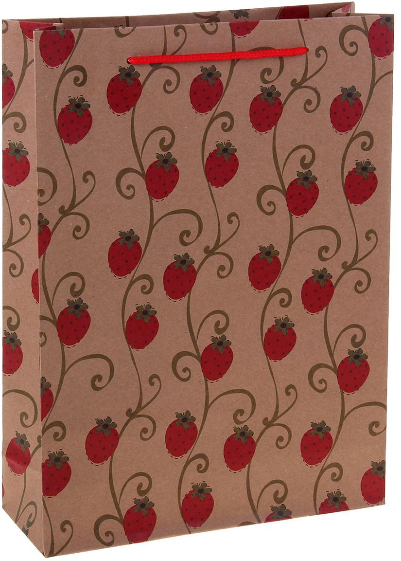 Пакет подарочный Ягодки, цвет: красный, 24 х 8 х 33 см. 12584361258436Любой подарок начинается с упаковки. Что может быть трогательнее и волшебнее, чем ритуал разворачивания полученного презента. И именно оригинальная, со вкусом выбранная упаковка выделит ваш подарок из массы других. Она продемонстрирует самые теплые чувства к виновнику торжества и создаст сказочную атмосферу праздника. Пакет-крафт Ягодки - это то, что вы искали.