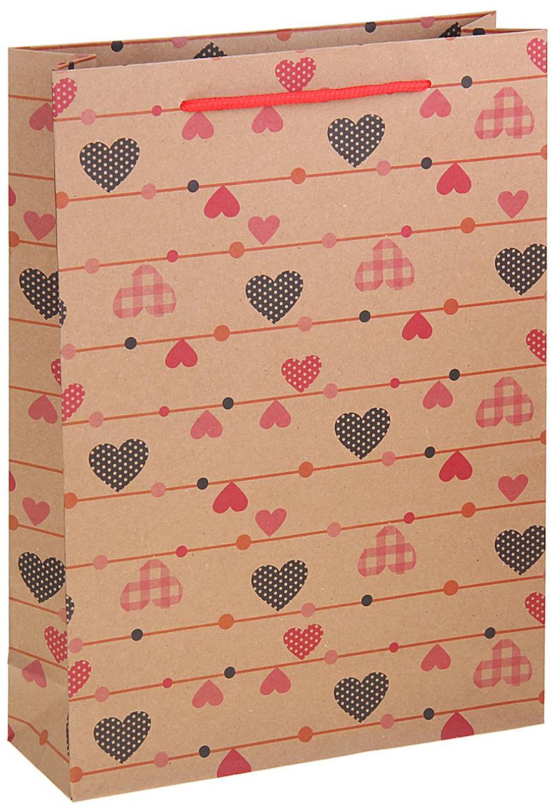 Пакет подарочный Сердечки, цвет: коричневый, 24 х 8 х 33 см. 12584421258442Любой подарок начинается с упаковки. Что может быть трогательнее и волшебнее, чем ритуал разворачивания полученного презента. И именно оригинальная, со вкусом выбранная упаковка выделит ваш подарок из массы других. Она продемонстрирует самые теплые чувства к виновнику торжества и создаст сказочную атмосферу праздника. Пакет-крафт Сердечки - это то, что вы искали.