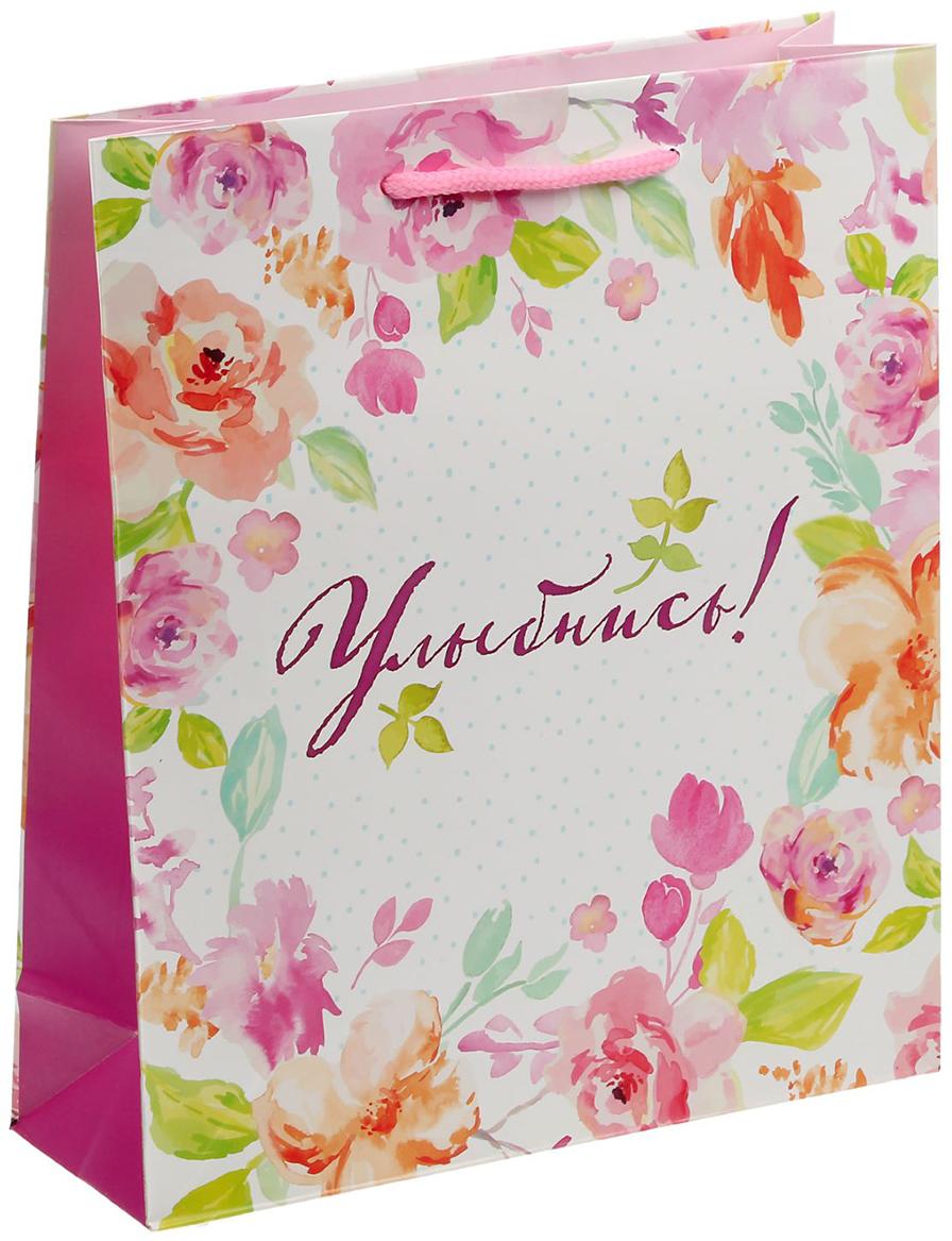 Пакет подарочный Дарите Счастье Улыбнись, цвет: мультиколор, 23 х 27 х 8 см. 14030621403062Любой подарок начинается с упаковки. Что может быть трогательнее и волшебнее, чем ритуал разворачивания полученного презента. И именно оригинальная, со вкусом выбранная упаковка выделит ваш подарок из массы других. Она продемонстрирует самые теплые чувства к виновнику торжества и создаст сказочную атмосферу праздника - это то, что вы искали.