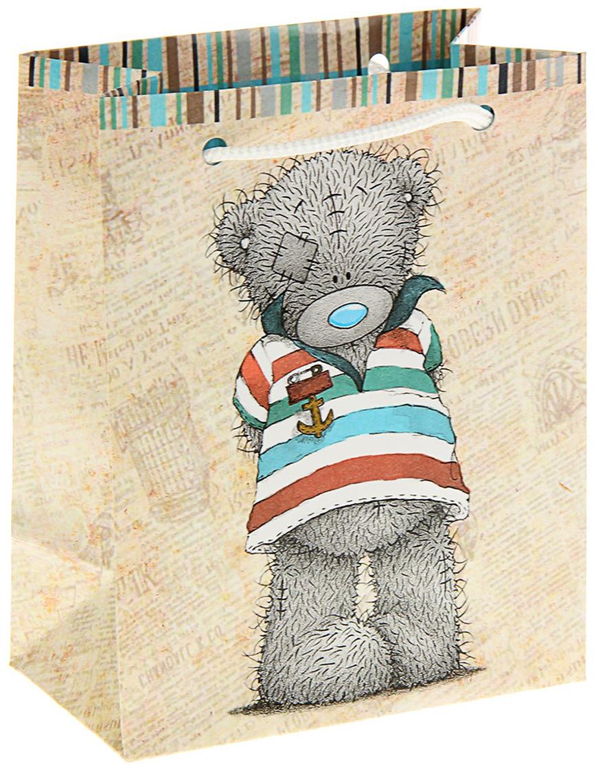 Пакет подарочный Me to You Тедди, цвет: бежевый, 14,5 х 11,5 х 6,5 см. 1407882 футболка для беременных printio мишка me to you