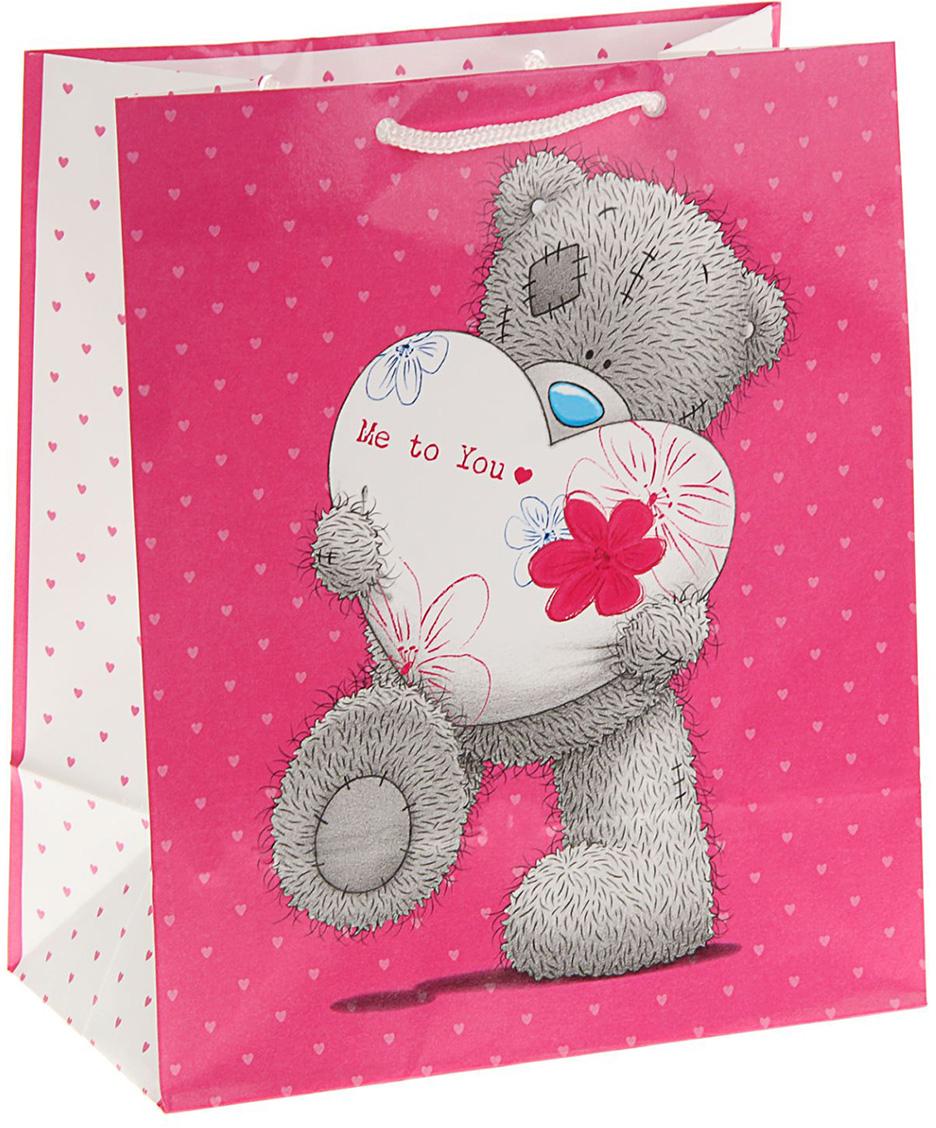Пакет подарочный Me to You Мой заботливый Мишка, цвет: розовый, 24 х 20,3 х 11,5 см. 1407883 футболка для беременных printio мишка me to you