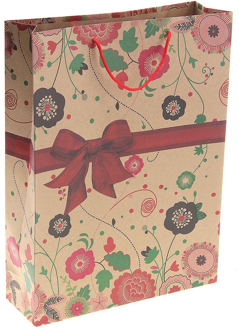 Пакет подарочный Пышный бант, цвет: мультиколор, 31 х 10 х 42 см. 141071141071Любой подарок начинается с упаковки. Что может быть трогательнее и волшебнее, чем ритуал разворачивания полученного презента. И именно оригинальная, со вкусом выбранная упаковка выделит ваш подарок из массы других. Она продемонстрирует самые теплые чувства к виновнику торжества и создаст сказочную атмосферу праздника. Пакет-крафт Пышный бант - это то, что вы искали.