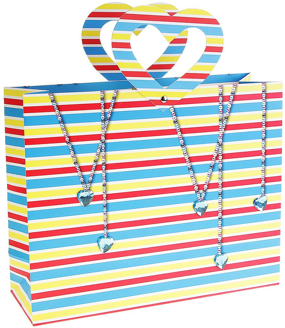 Пакет подарочный Сердечки, цвет: голубой, красный, желтый, 9,5 х 29 х 26 см. 147206147206Внимание всем любителям стильной подарочной упаковки, вы только посмотрите на огромный раздел, который вобрал в себя все самое лучшее из мира оформления подарков. При формировании ассортимента специалисты нашей компании не упускают ни одной важной детали, закупая только самый востребованный товар, который не залеживается на складе. А если вы приобретаете для личного пользования подарочную упаковку, то она будет радовать вас своим ярким дизайном и универсальностью в использовании. Например, Пакет ламинированный Сердечки яркий представитель в своей категории. Идеальный размер, цвет, форма выгодно подчеркнут красоту подарка.