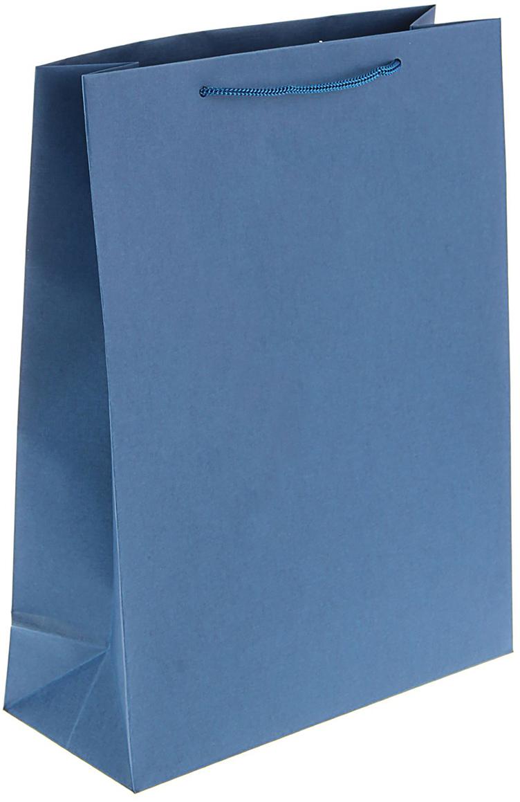 Пакет подарочный, цвет: синий, 32 х 25 х 10 см. 15140641514064Эксклюзивные пакеты ручной работы сделаны из дизайнерской бумаги - имитлина с плотностью 125 г/м2. Они имеют жесткое дно и подручники. Боковые швы и низ проклеены: это дает гарантию, что даже при долгом использовании пакет не разорвется. Изделия упакованы индивидуально в прозрачную пленку, что обеспечивает сохранность товарного вида при доставке. Пакет понравится вам, если вы придаете значение оформлению не меньше, чем самому подарку. В такой обертке любой презент будет выглядеть благородно!Преимущества:сдержанный строгий дизайн, отлично подходящий для оформления корпоративных подарков. Возможность нанесения печати. Рекомендуемый вес подарка: до 2 кг.