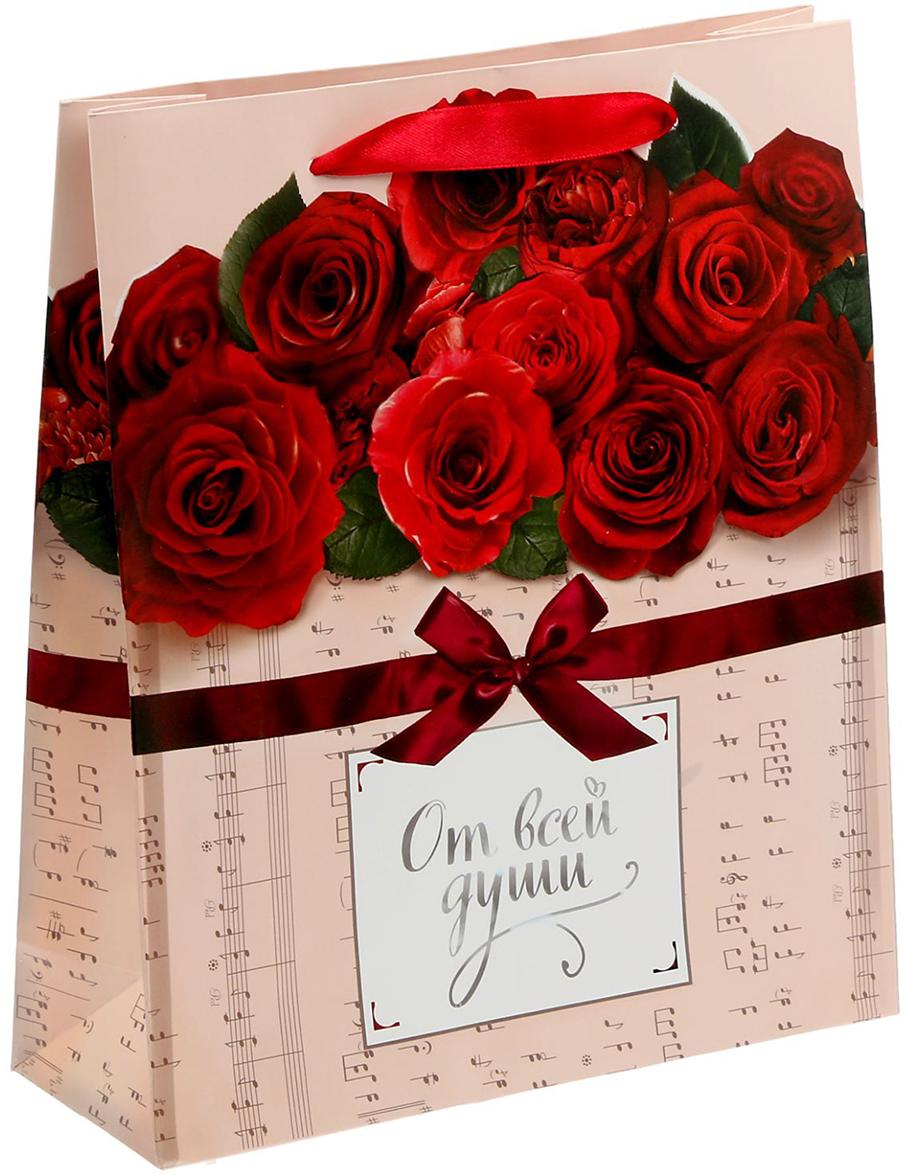 Пакет подарочный Дарите Счастье Музыкальное поздравление, цвет: мультиколор, 23 х 27 х 8 см. 15269571526957Любой подарок начинается с упаковки. Что может быть трогательнее и волшебнее, чем ритуал разворачивания полученного презента. И именно оригинальная, со вкусом выбранная упаковка выделит ваш подарок из массы других. Она продемонстрирует самые теплые чувства к виновнику торжества и создаст сказочную атмосферу праздника - это то, что вы искали.