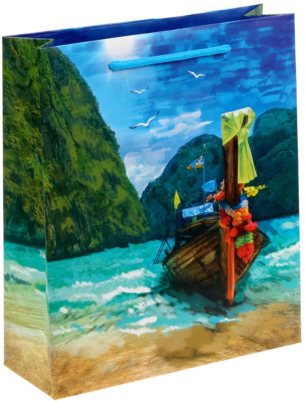 Пакет подарочный Дарите Счастье Райский уголок, цвет: мультиколор, 23 х 8 х 27 см. 1529710 supra hss 1251 щипцы для завивки волос