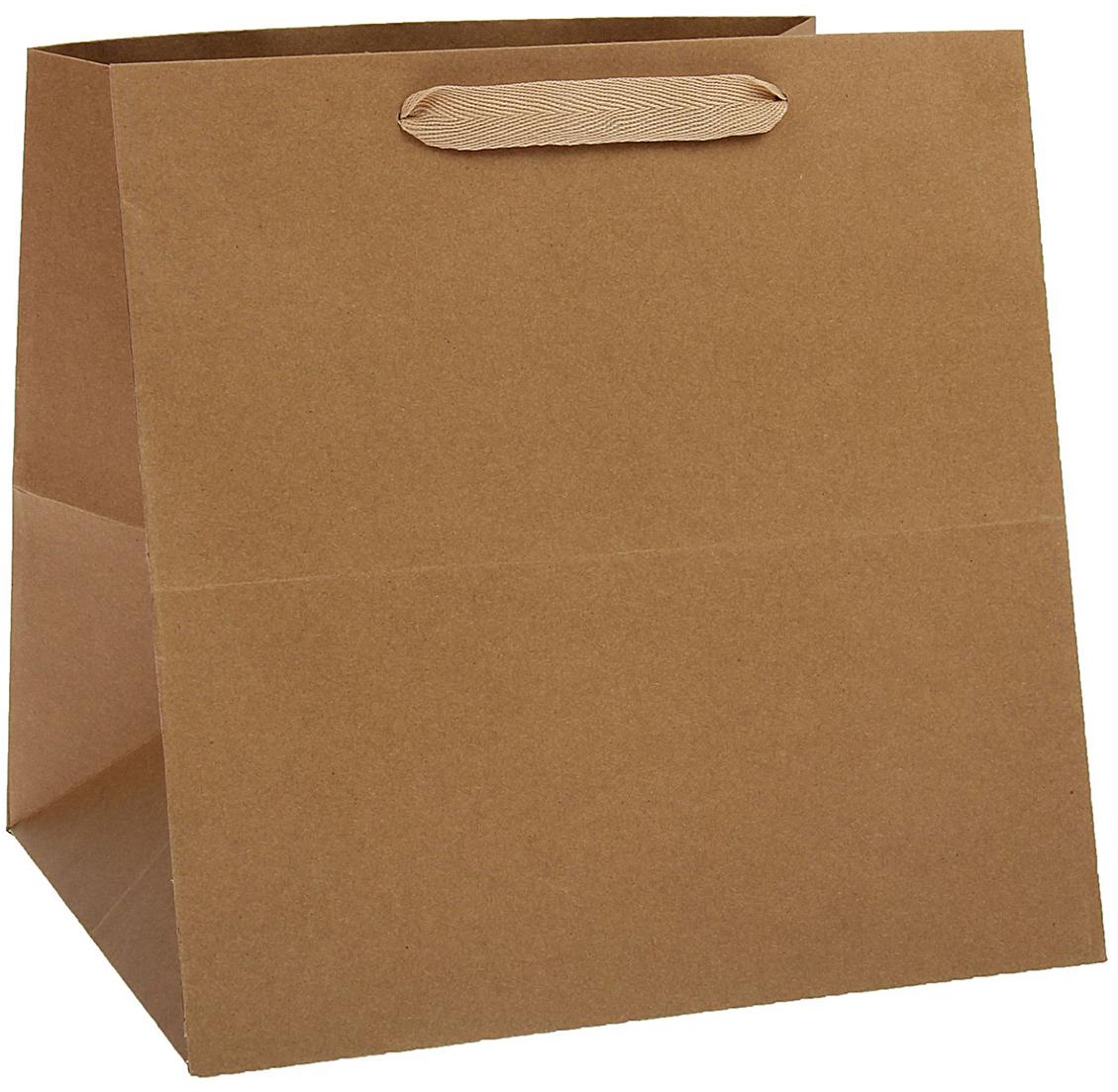 Пакет подарочный, цвет: коричневый, 30 х 30 х 30 см. 1537266