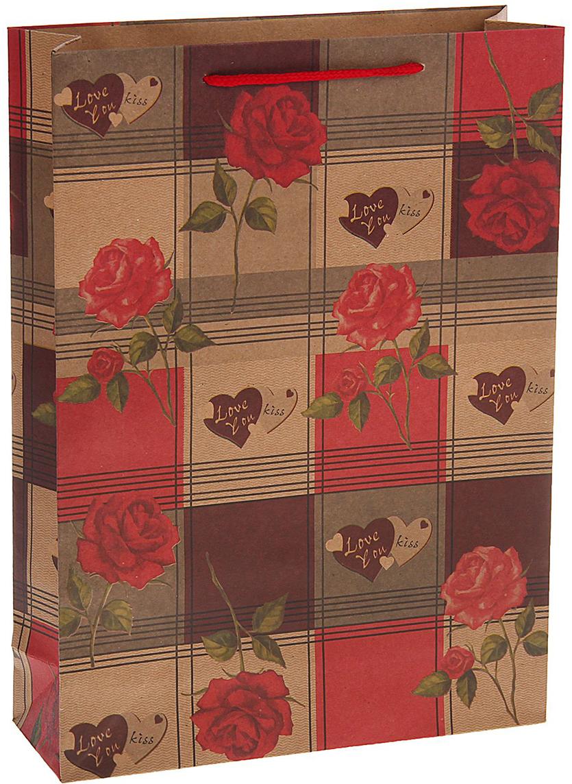 Пакет подарочный Розы с любовью, цвет: мультиколор, 31 х 42 х 10 см. 15377351537735Любой подарок начинается с упаковки. Что может быть трогательнее и волшебнее, чем ритуал разворачивания полученного презента. И именно оригинальная, со вкусом выбранная упаковка выделит ваш подарок из массы других. Она продемонстрирует самые теплые чувства к виновнику торжества и создаст сказочную атмосферу праздника. Пакет-крафт Розы с любовью - это то, что вы искали.