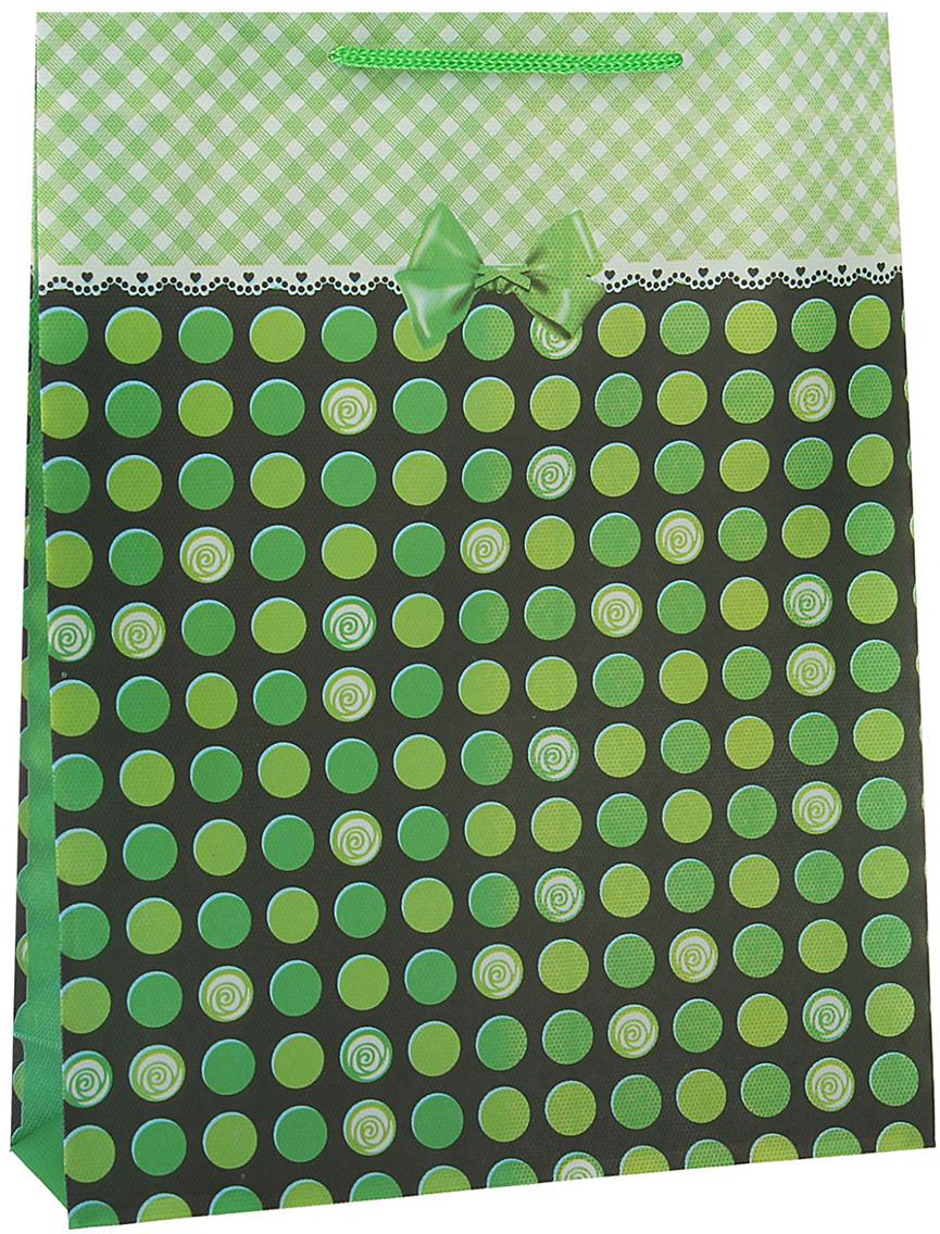 Пакет подарочный Кружочки, цвет: зеленый, 23 х 27 х 8 см. 15586591558659Любой подарок начинается с упаковки. Что может быть трогательнее и волшебнее, чем ритуал разворачивания полученного презента. И именно оригинальная, со вкусом выбранная упаковка выделит ваш подарок из массы других. Она продемонстрирует самые теплые чувства к виновнику торжества и создаст сказочную атмосферу праздника - это то, что вы искали.