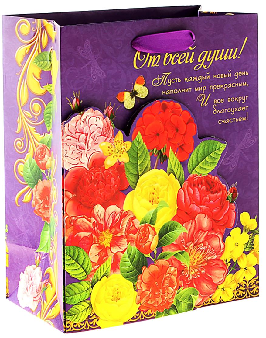 Пакет подарочный Дарите Счастье Цветы, с открыткой, цвет: мультиколор, 29 х 37 см. 156717156717Представляем новую оригинальную форму подарочной упаковки!Фишка пакета - открытка с текстом. Она является частью самого изделия и крепится на застежку-липучку. Такая упаковка непременно поразит получателя. Будьте уверены, второго такого пакета не найти. Удивляйте не только подарком, но и его оформлением!