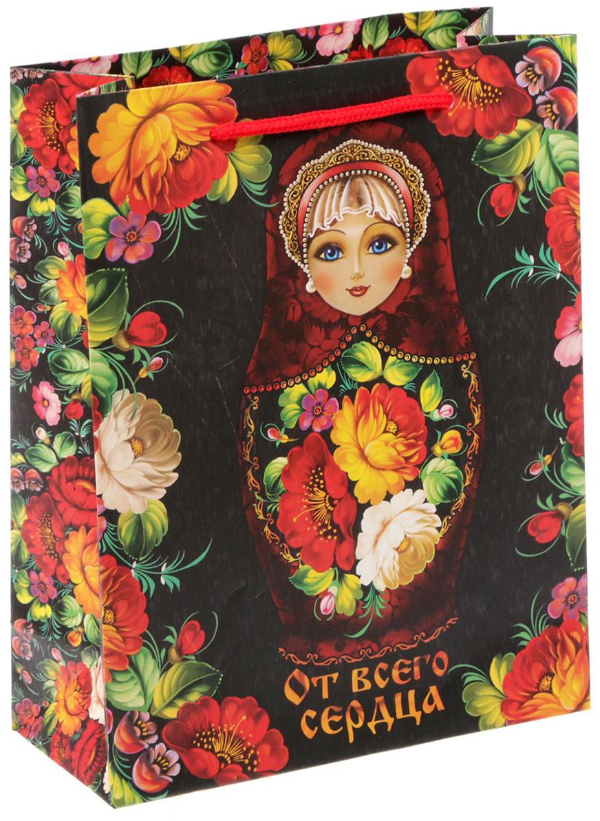 Пакет подарочный Дарите Счастье Русский подарок, цвет: мультиколор, 18 х 23 х 8 см. 16408691640869Любой подарок начинается с упаковки. Что может быть трогательнее и волшебнее, чем ритуал разворачивания полученного презента. И именно оригинальная, со вкусом выбранная упаковка выделит ваш подарок из массы других. Она продемонстрирует самые теплые чувства к виновнику торжества и создаст сказочную атмосферу праздника - это то, что вы искали.