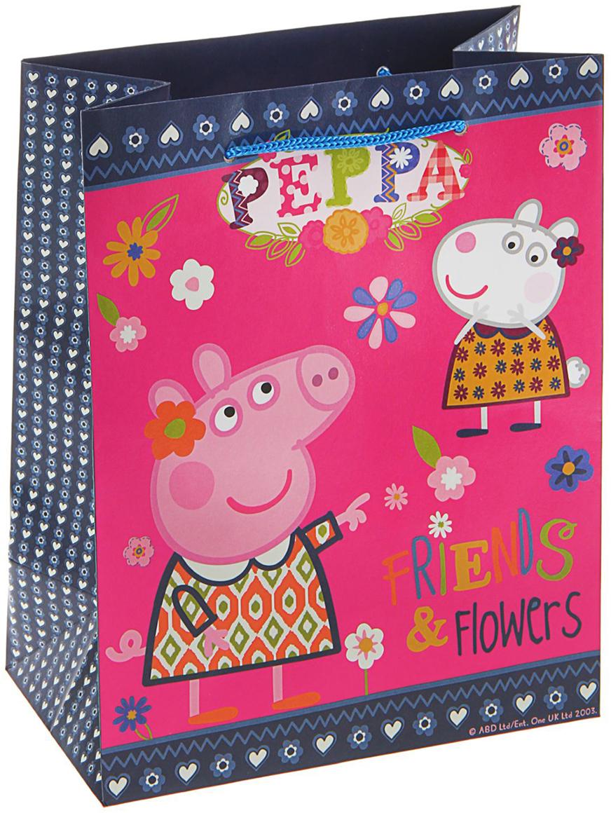 Пакет подарочный Peppa Pig Пеппа и Сьюзи, цвет: розовый, 23 х 18 х 10 см. 1668052 peppa pig пакет подарочный пеппа и сьюзи 35 х 25 х 9 см
