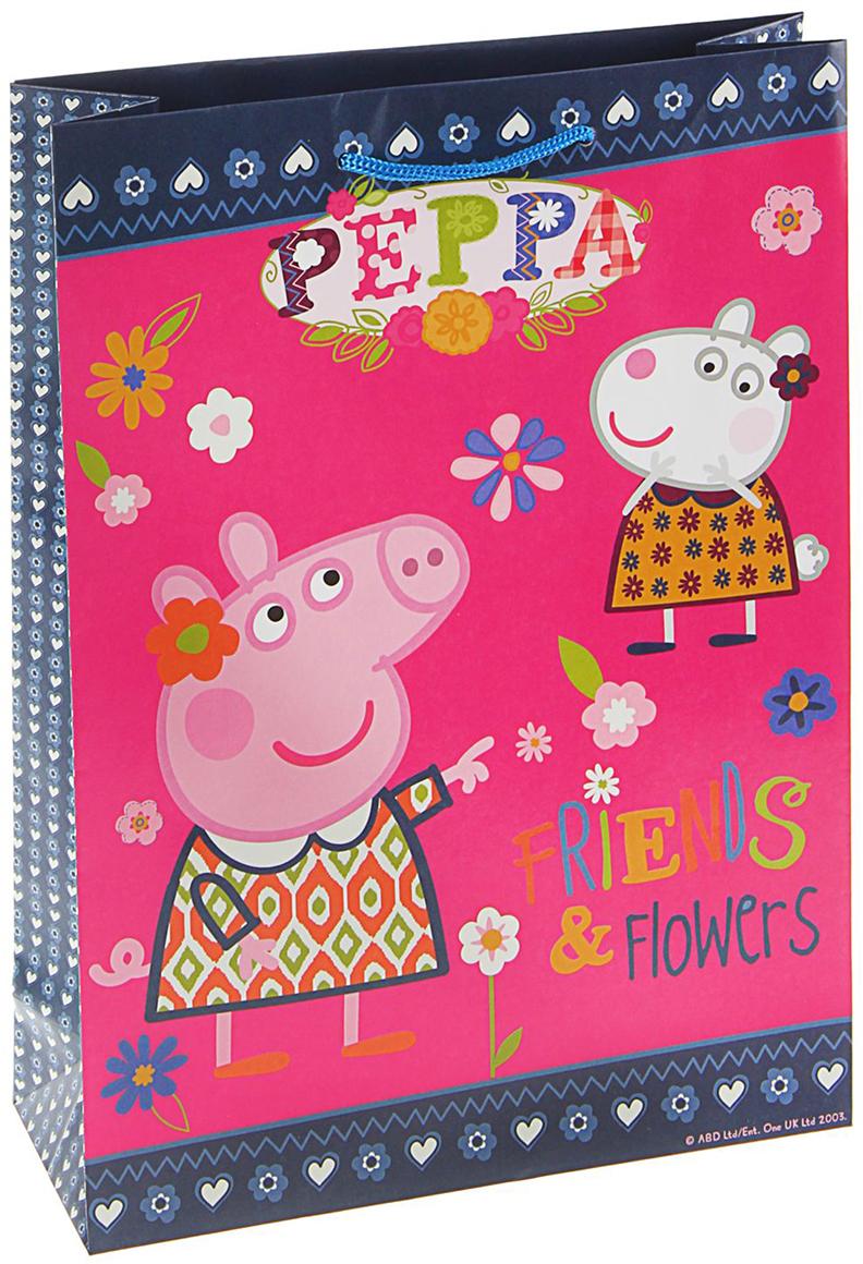 Пакет подарочный Peppa Pig Пеппа и Сьюзи, цвет: розовый, 35 х 29 х 9 см. 1668053 peppa pig пакет подарочный пеппа и сьюзи 35 х 25 х 9 см