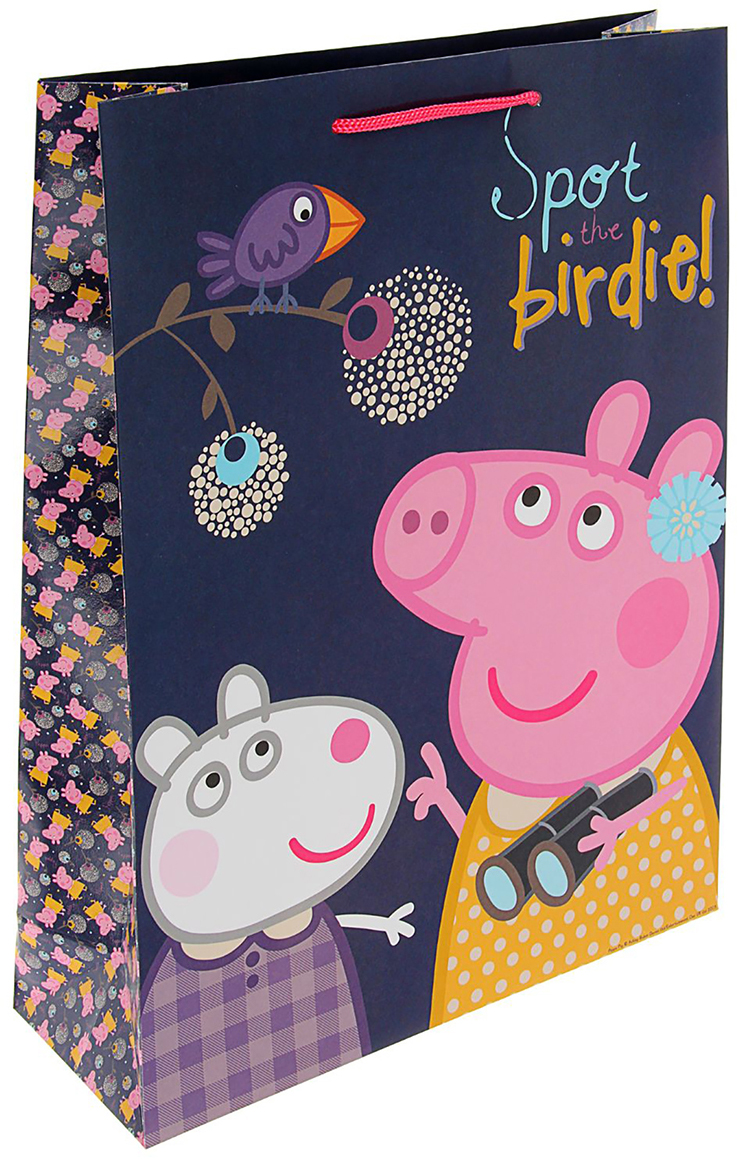 Пакет подарочный Peppa Pig Пеппа и птица, цвет: синий, 35 х 29 х 9 см. 1668057 peppa pig пакет подарочный пеппа и сьюзи 35 х 25 х 9 см