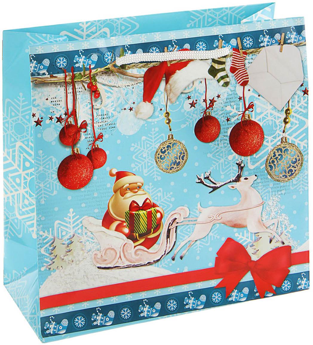 Пакет подарочный Сказочный гость, цвет: мультиколор, 23 х 22,5 х 10 см. 16860741686074Любой подарок начинается с упаковки. Что может быть трогательнее и волшебнее, чем ритуал разворачивания полученного презента. И именно оригинальная, со вкусом выбранная упаковка выделит ваш подарок из массы других. Она продемонстрирует самые теплые чувства к виновнику торжества и создаст сказочную атмосферу праздника. Пакет подарочный Сказочный гость - это то, что вы искали.