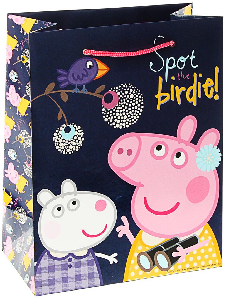 Пакет подарочный Peppa Pig Пеппа и птица, цвет: синий, 23 х 18 х 10 см. 1704553 peppa pig пакет подарочный пеппа и сьюзи 35 х 25 х 9 см