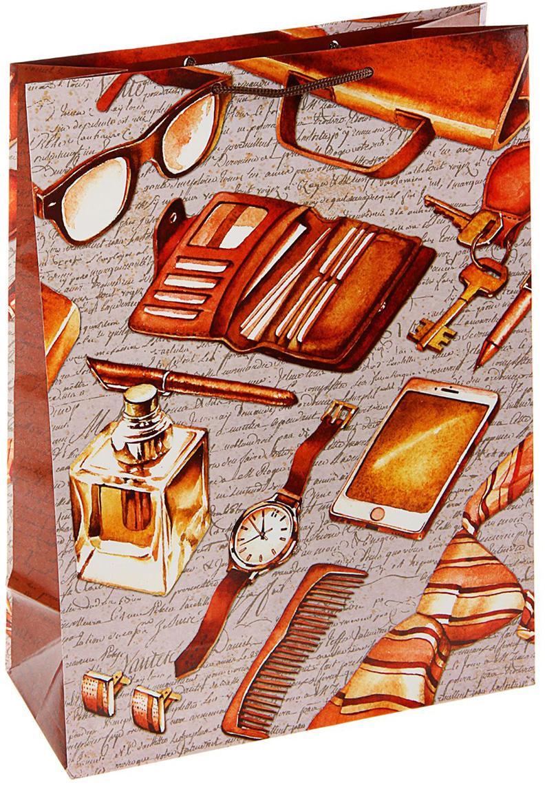 Пакет подарочный Арт и Дизайн Мужской набор, цвет: коричневый, 36 х 26 х 11,5 см. 17593811759381Любой подарок начинается с упаковки. Что может быть трогательнее и волшебнее, чем ритуал разворачивания полученного презента. И именно оригинальная, со вкусом выбранная упаковка выделит ваш подарок из массы других. Она продемонстрирует самые теплые чувства к виновнику торжества и создаст сказочную атмосферу праздника - это то, что вы искали.