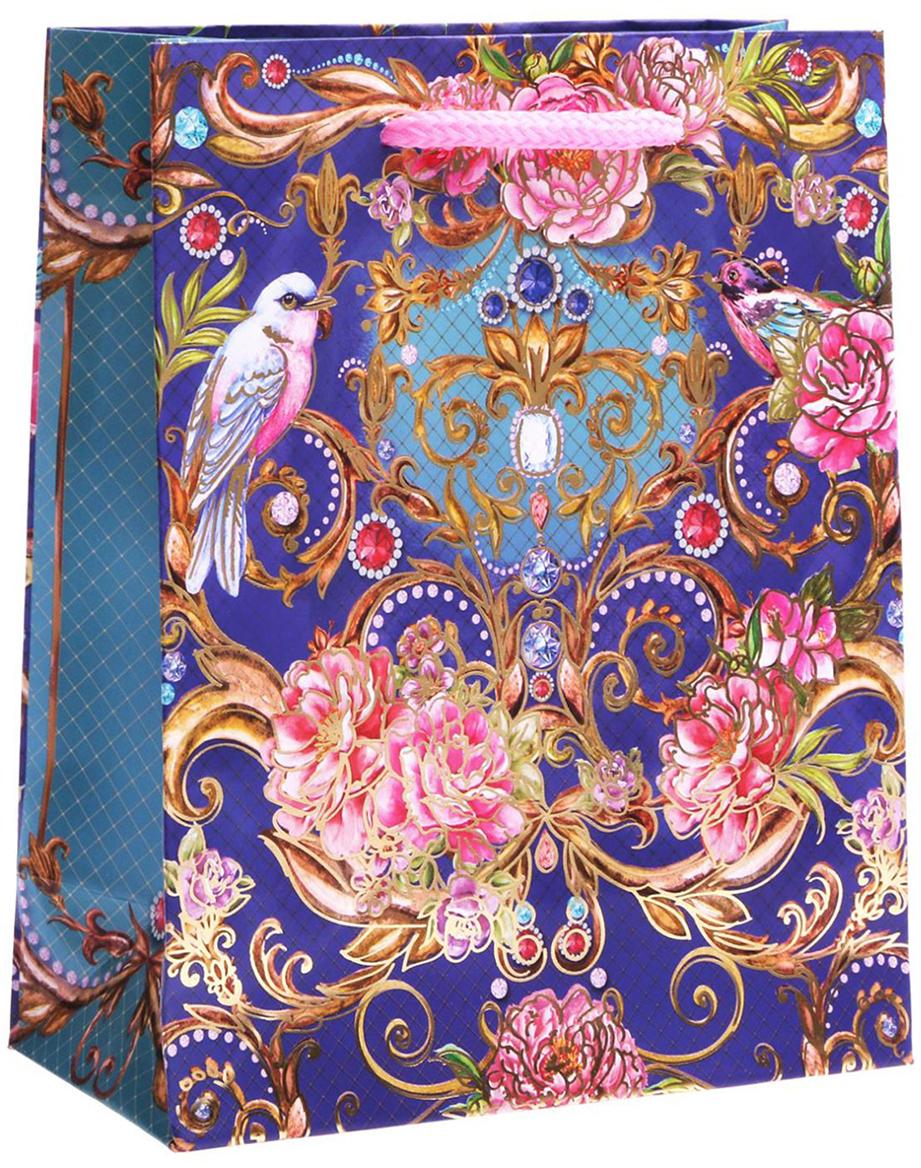 Пакет подарочный Дарите Счастье Королевский сад, цвет: мультиколор, 23 х 8 х 27 см. 17615551761555Любой подарок начинается с упаковки. Что может быть трогательнее и волшебнее, чем ритуал разворачивания полученного презента. И именно оригинальная, со вкусом выбранная упаковка выделит ваш подарок из массы других. Она продемонстрирует самые теплые чувства к виновнику торжества и создаст сказочную атмосферу праздника. Пакет-ламинат вертикальный с тиснением Королевский сад - это то, что вы искали.