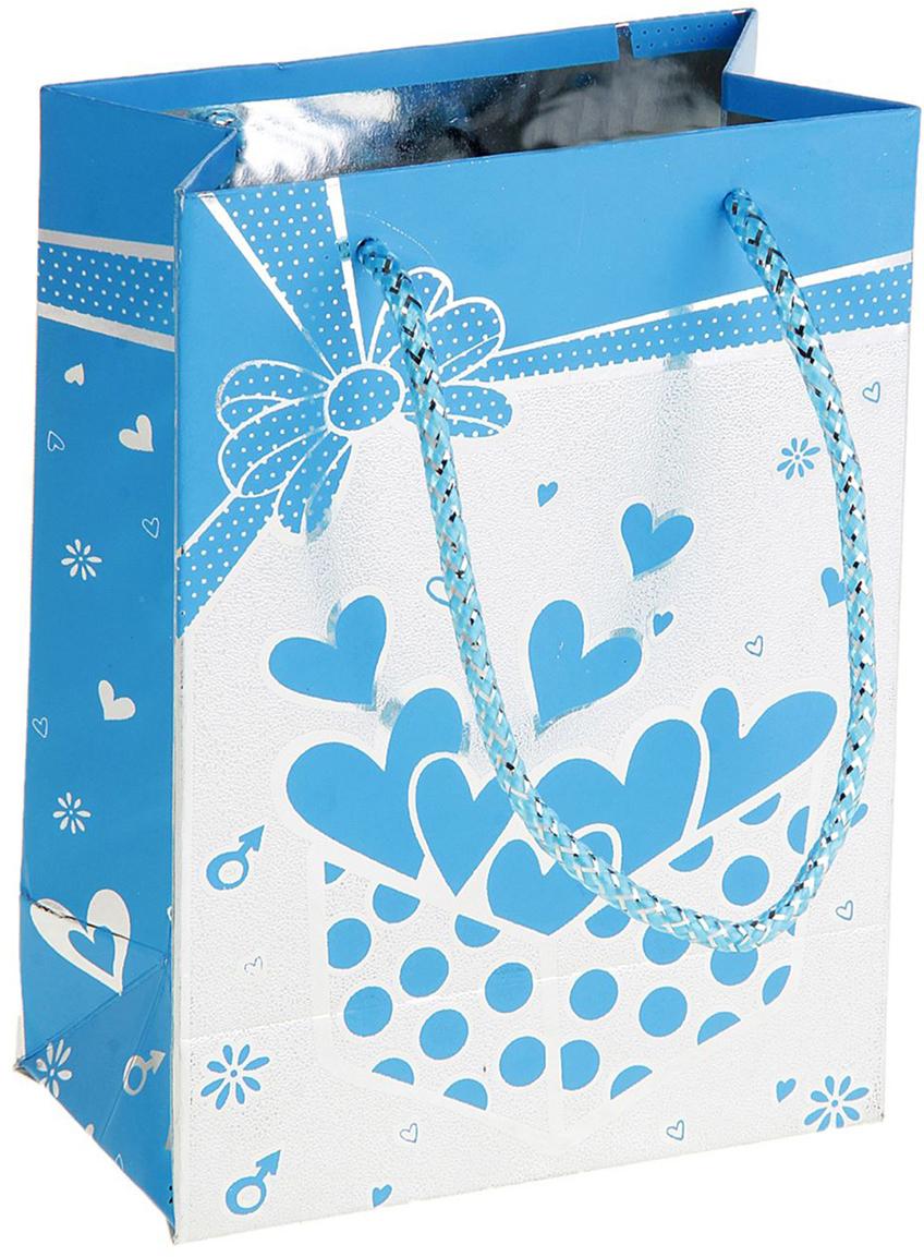 Пакет подарочный Сердечки в коробке, голографический, цвет: голубой, 6,5 х 11 х 15 см. 178436 фонарь maglite 2d синий 25 см в картонной коробке 947191